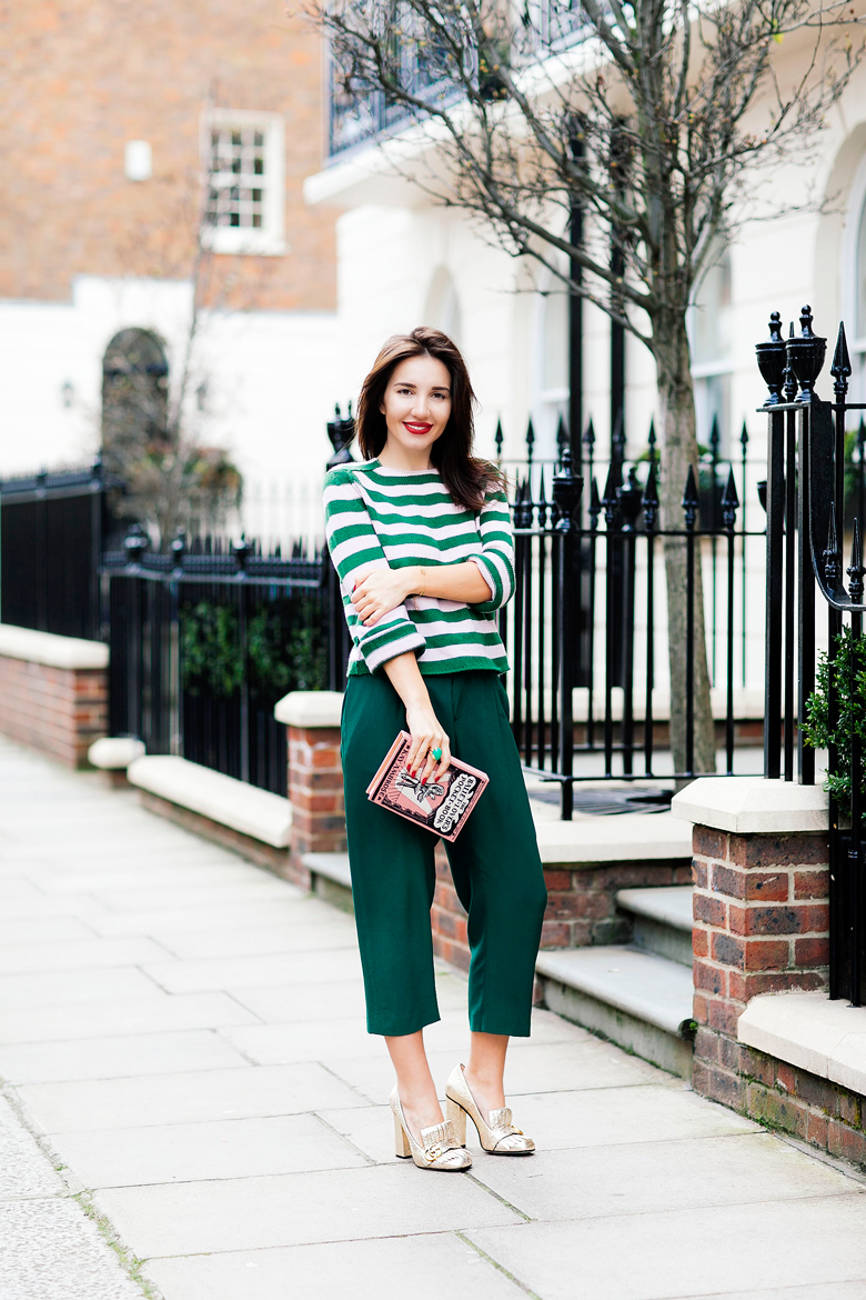 Control Your Stripes. 7 More Minutes. London fashion blog by Alyona Prykhodko. Daily fashion. London. Alyona is wearing Marni trousers and jumper, Gucci heels, Olympia Le Tan clutch, Dior ring, LV bracelet. www.7moreminutes.com